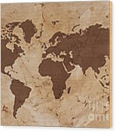 Old World Map On Creased And Stained Parchment Paper Wood Print