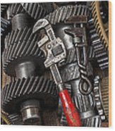 Old Wrenches On Gears Wood Print by Garry Gay