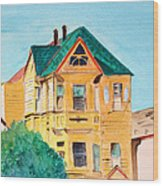 Old Yellow House In Downtown Oakland Wood Print
