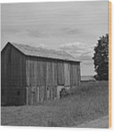Olde Homestead - Olde Barn - Black And White Wood Print