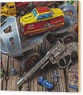 Older Roller Skate And Toys Wood Print