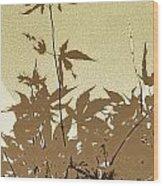 Olive And Brown Haiku Wood Print