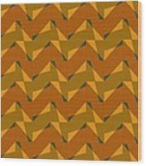 Olive Green And Orange Chevron Collage Wood Print