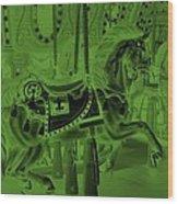 Olive Green Horse Wood Print
