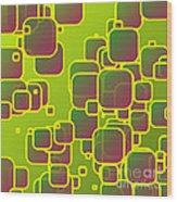 Olive Green Squares Wood Print
