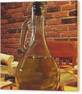 Olive Oil On Table Wood Print