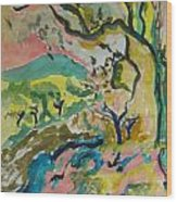 Olive Orchards Wood Print