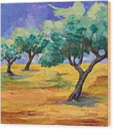 Olive Trees Grove Wood Print