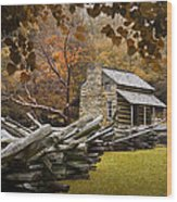 Oliver's Log Cabin During Fall In The Great Smoky Mountains Wood Print