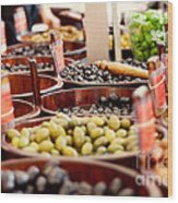 Olives In Barrels Wood Print