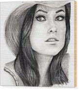 Olivia Wilde Wood Print by Rosalinda Markle
