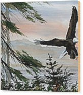 Olympic Coast Eagle Wood Print