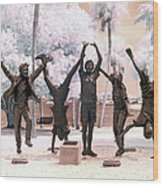 Olympic Wannabes Sculpture By Glenna Goodacre Near Infrared Wood Print