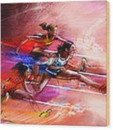 Olympics Heptathlon Hurdles 01 Wood Print