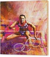 Olympics Heptathlon Hurdles 02 Wood Print