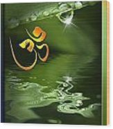 Om On Green With Dew Drop Wood Print