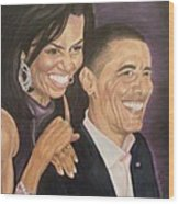Ombience Of Love The Obama Wood Print