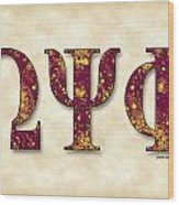 Omega Psi Phi - Parchment Wood Print