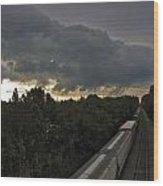 Ominous Skies Over Tracks Wood Print