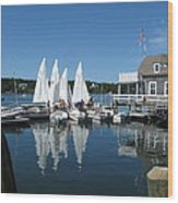 On A Beautiful Maine Summer Morning On The Island Of North Havenjunior Sailing Participants Rig Sailboats Wood Print by Downeast Yacht Shots- Ted Fisher Photography