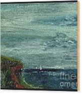 On A Bluff Over The Sea Looking At Sailboats Wood Print by Cathy Peterson