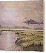 On A Mission - Hh60g Helicopter Wood Print