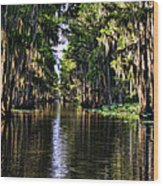 On Golden Canal Wood Print by Lana Trussell