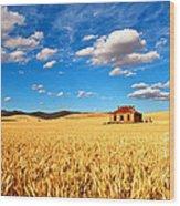 On Golden Fields Wood Print