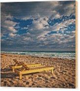 On Golden Sands Wood Print