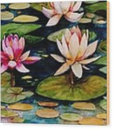 On Lily Pond Wood Print