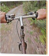 On My Mountain Bike Wood Print