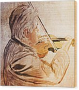 On Stage The Violinist Wood Print