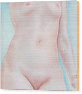 On The Artists Pedestal A Statuesque Female Nude Torso With Open Sky Behind Wood Print