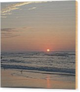 On The Beach At Sunrise - Wildwood New Jersey Wood Print