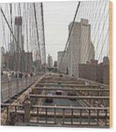 On The Brooklyn Bridge Wood Print