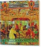 On The Carousel Wood Print