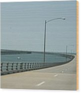 On The Chesapeake Bay Bridge Wood Print
