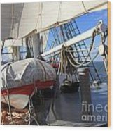 On The Deck Of A Sailing Ship Wood Print