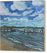 On The Dock In Great Harbors Wood Print