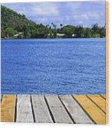 on the dock in Tahiti Wood Print