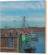 On The Dockside Bristol Rhode Island Wood Print