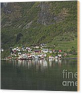 On The Edge Of The Fjord Wood Print
