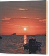 On The Gulf At Sunset Wood Print