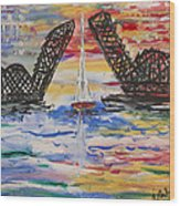 On The Hour. The Sailboat And The Steel Bridge Wood Print