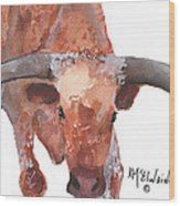On The Level Texas Longhorn Watercolor Painting By Kmcelwaine Wood Print