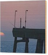 On The Pacifica Pier At Sunset Wood Print