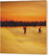 On The Pond With Dad Wood Print by Desmond Raymond