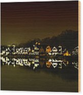 On The River At Night -  Boathouse Row Wood Print