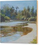 On The River Wood Print by Nancy Stutes
