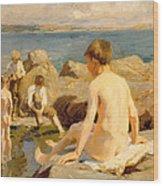 On The Rocks Near Newlyn Wood Print by Harold Harvey